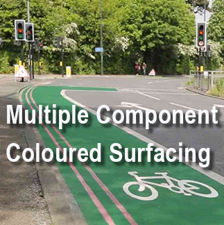 Multiple component coloured surfacing